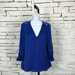 Ellen Tracy Button Long Sleeve Royal Blue Top 1111